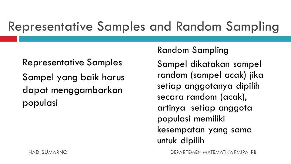 HADI SUMARNODEPARTEMEN MATEMATIKA FMIPA IPB Representative Samples and Random Sampling Representative Samples Sampel yang baik harus dapat menggambark