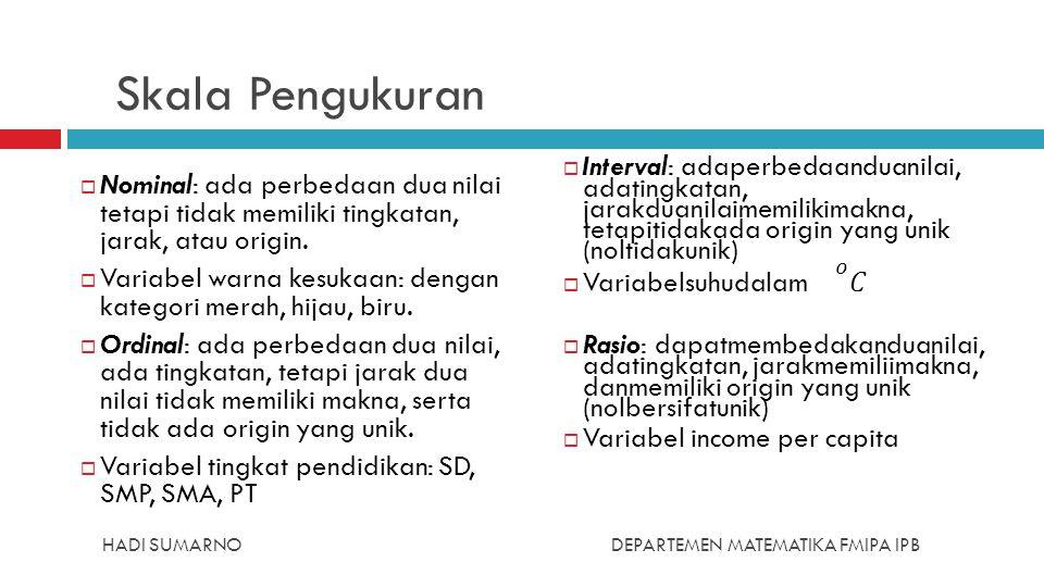 HADI SUMARNODEPARTEMEN MATEMATIKA FMIPA IPB Skala Pengukuran  Nominal: ada perbedaan dua nilai tetapi tidak memiliki tingkatan, jarak, atau origin. 