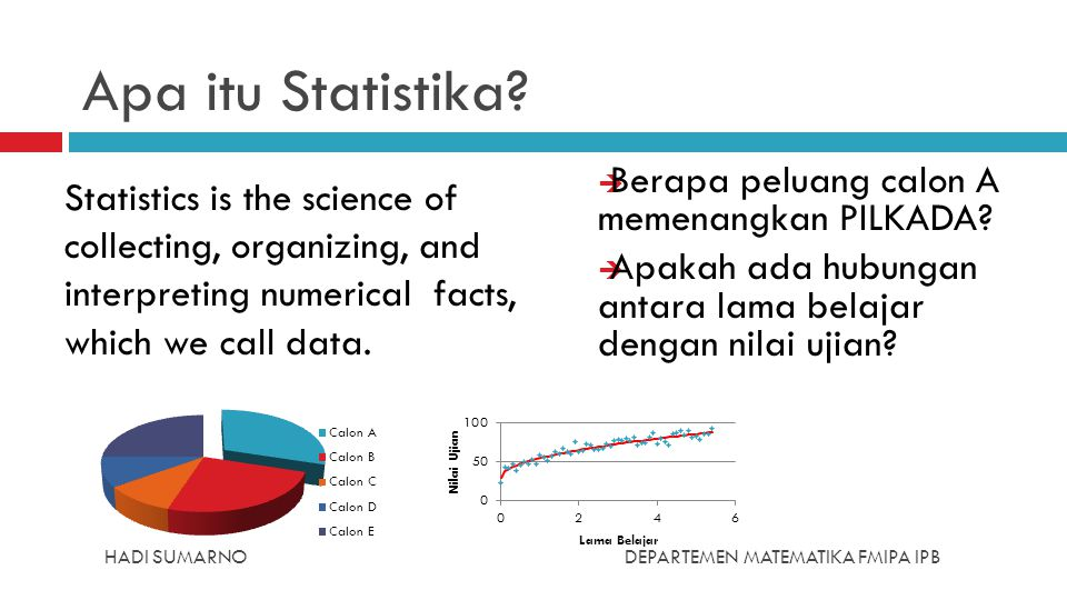 HADI SUMARNODEPARTEMEN MATEMATIKA FMIPA IPB Apa itu Statistika?  Berapa peluang calon A memenangkan PILKADA?  Apakah ada hubungan antara lama belaja