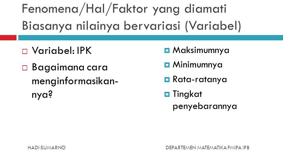 HADI SUMARNODEPARTEMEN MATEMATIKA FMIPA IPB Fenomena/Hal/Faktor yang diamati Biasanya nilainya bervariasi (Variabel)  Variabel: IPK  Bagaimana cara