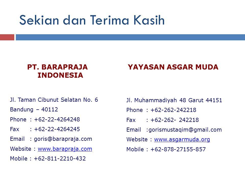Sekian dan Terima Kasih PT. BARAPRAJA INDONESIA Jl. Taman Cibunut Selatan No. 6 Bandung – 40112 Phone: +62-22-4264248 Fax: +62-22-4264245 Email: goris