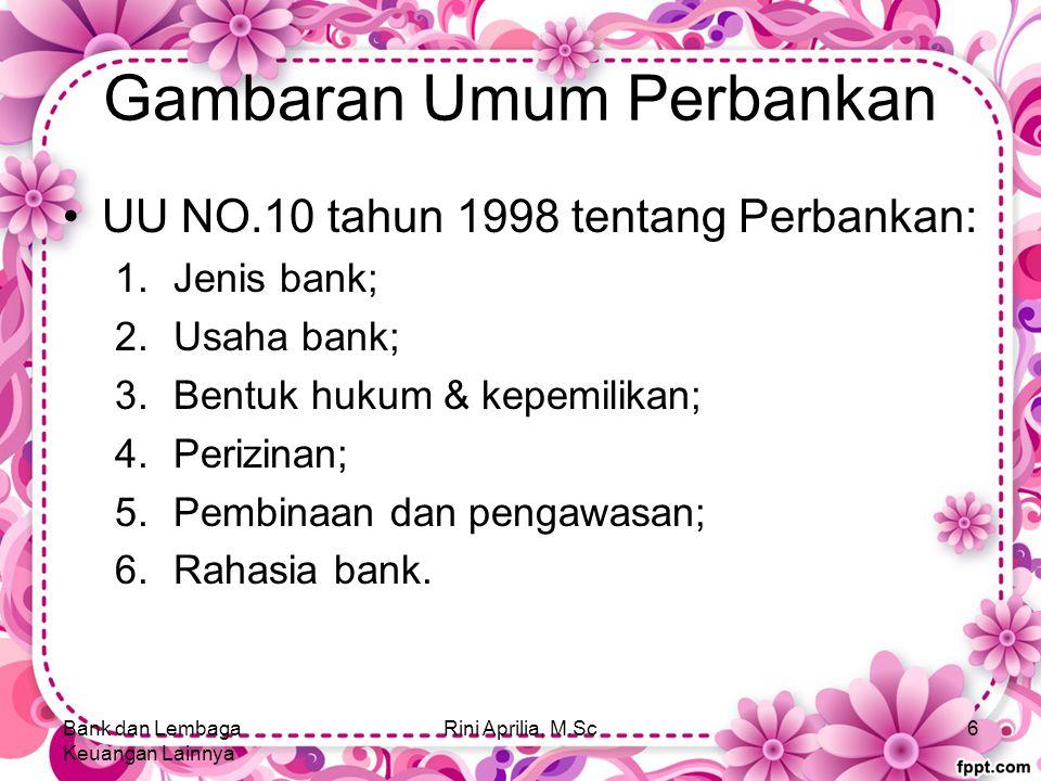 Gambaran Umum Perbankan UU NO.10 tahun 1998 tentang Perbankan: 1.Jenis bank; 2.Usaha bank; 3.Bentuk hukum & kepemilikan; 4.Perizinan; 5.Pembinaan dan pengawasan; 6.Rahasia bank.
