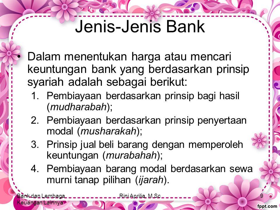 Jenis-Jenis Bank Dalam menentukan harga atau mencari keuntungan bank yang berdasarkan prinsip syariah adalah sebagai berikut: 1.Pembiayaan berdasarkan prinsip bagi hasil (mudharabah); 2.Pembiayaan berdasarkan prinsip penyertaan modal (musharakah); 3.Prinsip jual beli barang dengan memperoleh keuntungan (murabahah); 4.Pembiayaan barang modal berdasarkan sewa murni tanap pilihan (ijarah).