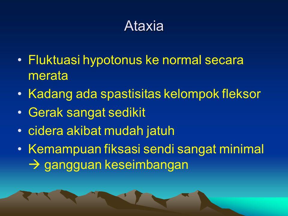 Ataxia Fluktuasi hypotonus ke normal secara merata Kadang ada spastisitas kelompok fleksor Gerak sangat sedikit cidera akibat mudah jatuh Kemampuan fi