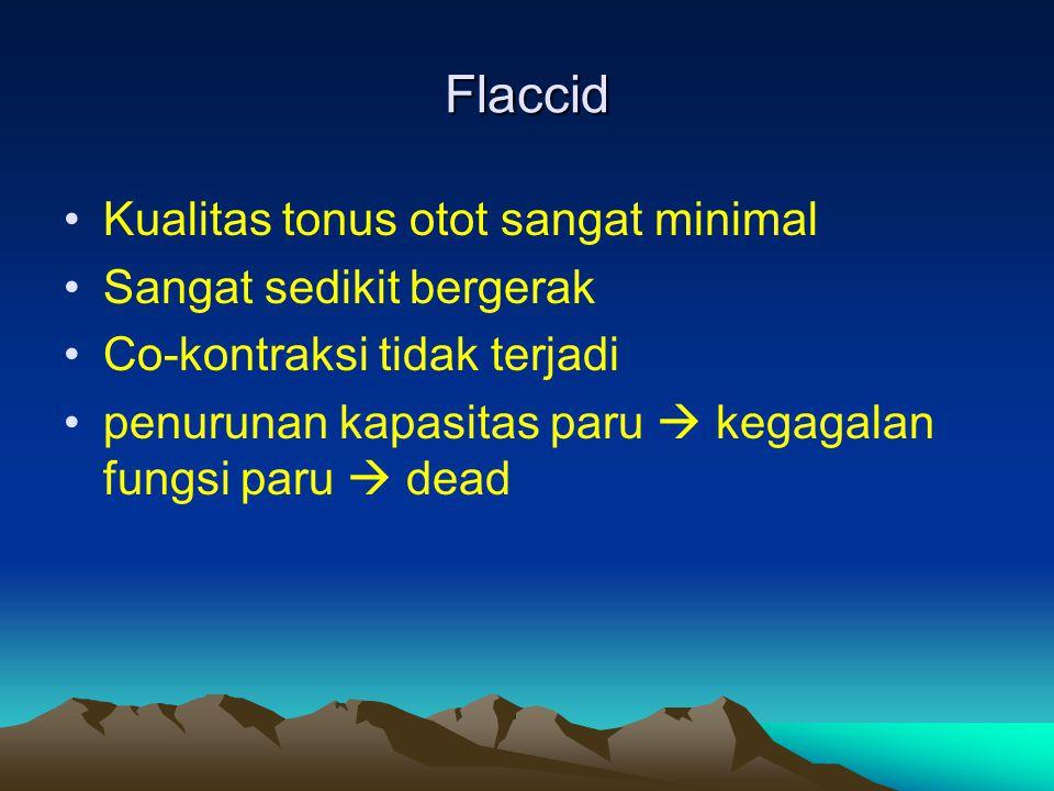 Flaccid Kualitas tonus otot sangat minimal Sangat sedikit bergerak Co-kontraksi tidak terjadi penurunan kapasitas paru  kegagalan fungsi paru  dead