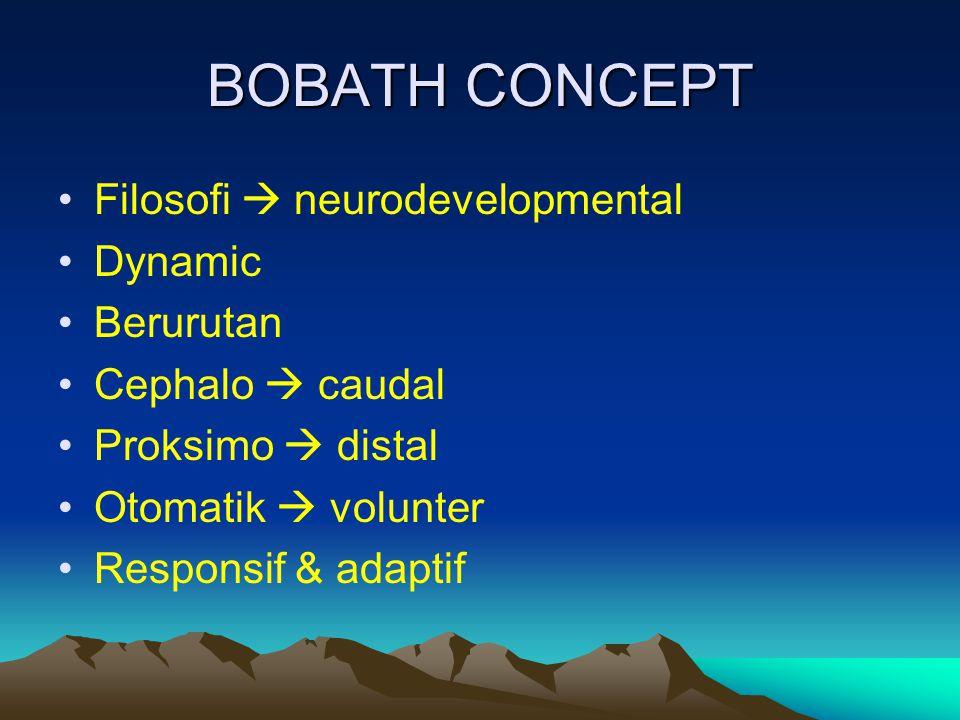 BOBATH CONCEPT Filosofi  neurodevelopmental Dynamic Berurutan Cephalo  caudal Proksimo  distal Otomatik  volunter Responsif & adaptif
