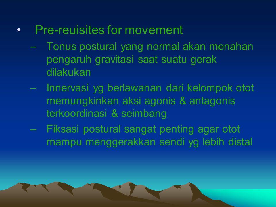 Pre-reuisites for movement –Tonus postural yang normal akan menahan pengaruh gravitasi saat suatu gerak dilakukan –Innervasi yg berlawanan dari kelomp