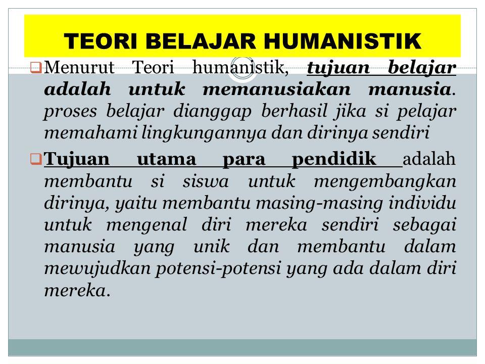 TEORI BELAJAR HUMANISTIK  Menurut Teori humanistik, tujuan belajar adalah untuk memanusiakan manusia. proses belajar dianggap berhasil jika si pelaja