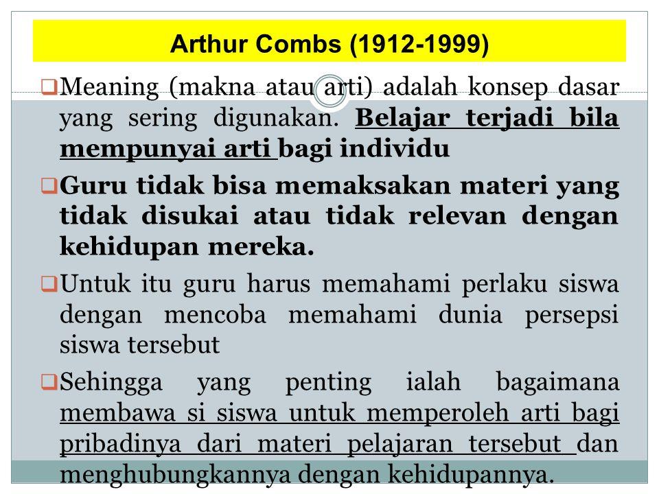 Arthur Combs (1912-1999)  Meaning (makna atau arti) adalah konsep dasar yang sering digunakan.