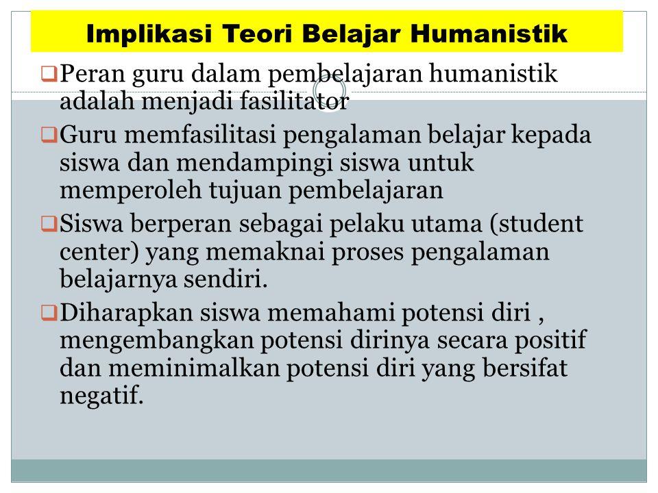 Implikasi Teori Belajar Humanistik  Peran guru dalam pembelajaran humanistik adalah menjadi fasilitator  Guru memfasilitasi pengalaman belajar kepad
