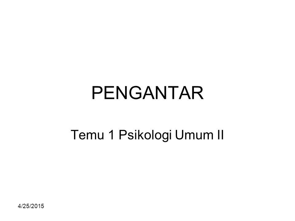 4/25/2015 PENGANTAR Temu 1 Psikologi Umum II