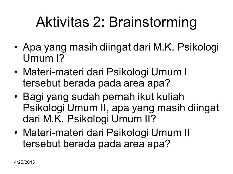 4/25/2015 Aktivitas 2: Brainstorming Apa yang masih diingat dari M.K. Psikologi Umum I? Materi-materi dari Psikologi Umum I tersebut berada pada area