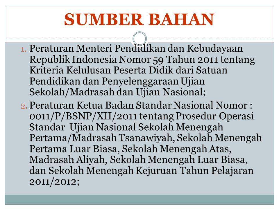 SUMBER BAHAN 1. Peraturan Menteri Pendidikan dan Kebudayaan Republik Indonesia Nomor 59 Tahun 2011 tentang Kriteria Kelulusan Peserta Didik dari Satua