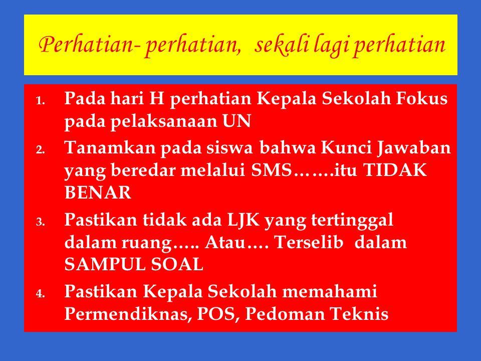 1. Pada hari H perhatian Kepala Sekolah Fokus pada pelaksanaan UN 2. Tanamkan pada siswa bahwa Kunci Jawaban yang beredar melalui SMS…….itu TIDAK BENA