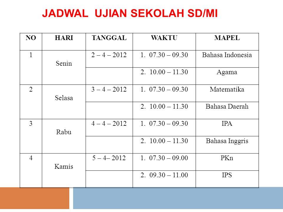 JADWAL UJIAN SEKOLAH SD/MI NOHARITANGGALWAKTUMAPEL 1 Senin 2 – 4 – 20121. 07.30 – 09.30Bahasa Indonesia 2. 10.00 – 11.30Agama 2 Selasa 3 – 4 – 20121.