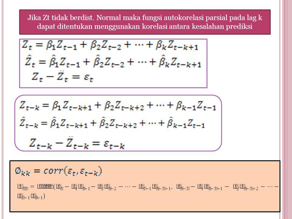 Jika Zt tidak berdist. Normal maka fungsi autokorelasi parsial pada lag k dapat ditentukan menggunakan korelasi antara kesalahan prediksi