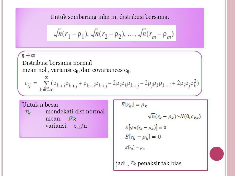 Untuk sembarang nilai m, distribusi bersama: Distribusi bersama normal mean nol, variansi c ii, dan covariances c ij, Untuk n besar mendekati dist.normal mean: variansi: c kk /n Untuk n besar mendekati dist.normal mean: variansi: c kk /n jadi., penaksir tak bias
