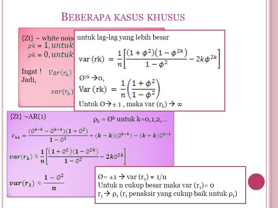 {Zt} ~ white noise, maka var (rk)≈1/n Ingat ! Jadi, {Zt} ~ white noise, maka var (rk)≈1/n Ingat ! Jadi, B EBERAPA KASUS KHUSUS {Zt} ~AR(1) ρ k = Ø k u
