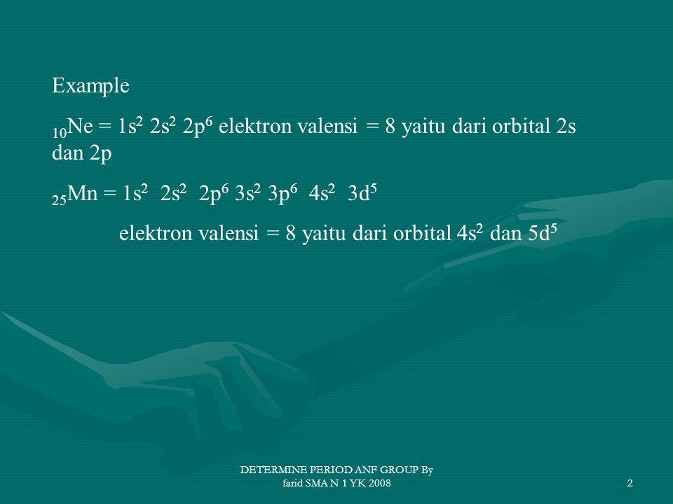 DETERMINE PERIOD ANF GROUP By farid SMA N 1 YK 20082 Example 10 Ne = 1s 2 2s 2 2p 6 elektron valensi = 8 yaitu dari orbital 2s dan 2p 25 Mn = 1s 2 2s 2 2p 6 3s 2 3p 6 4s 2 3d 5 elektron valensi = 8 yaitu dari orbital 4s 2 dan 5d 5