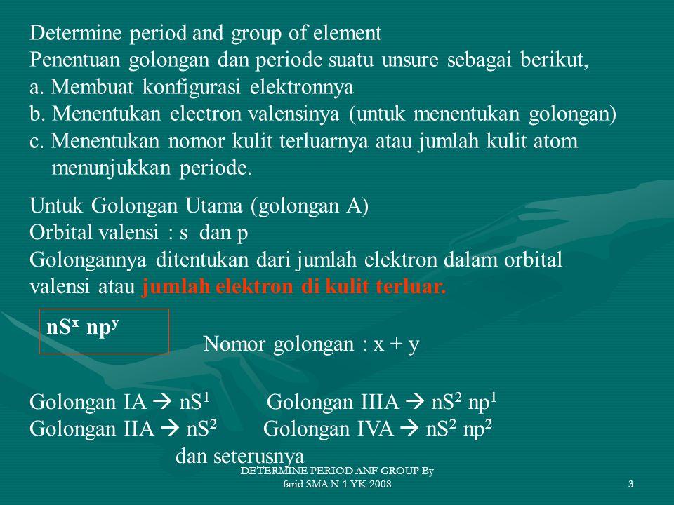 3 Determine period and group of element Penentuan golongan dan periode suatu unsure sebagai berikut, a.