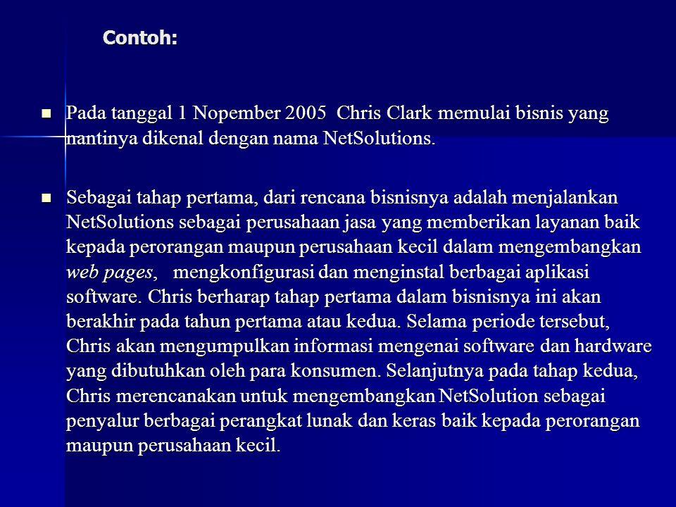 Contoh: Pada tanggal 1 Nopember 2005 Chris Clark memulai bisnis yang nantinya dikenal dengan nama NetSolutions.