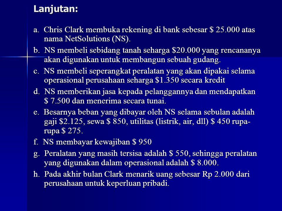 Lanjutan: a.Chris Clark membuka rekening di bank sebesar $ 25.000 atas nama NetSolutions (NS).