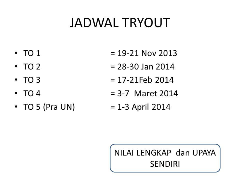 JADWAL TRYOUT TO 1= 19-21 Nov 2013 TO 2 = 28-30 Jan 2014 TO 3 = 17-21Feb 2014 TO 4 = 3-7 Maret 2014 TO 5 (Pra UN) = 1-3 April 2014 NILAI LENGKAP dan U