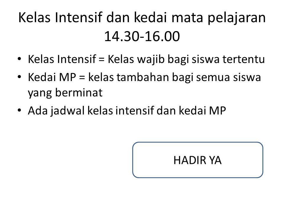 Kelas Intensif dan kedai mata pelajaran 14.30-16.00 Kelas Intensif = Kelas wajib bagi siswa tertentu Kedai MP = kelas tambahan bagi semua siswa yang b