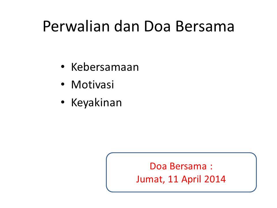 Perwalian dan Doa Bersama Kebersamaan Motivasi Keyakinan Doa Bersama : Jumat, 11 April 2014