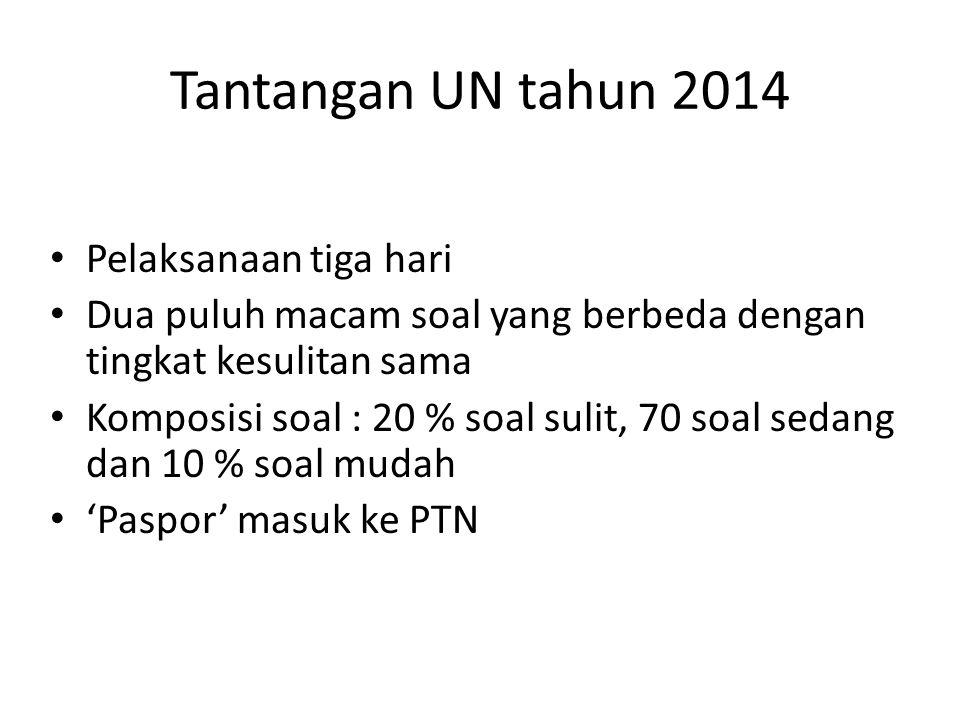Tantangan UN tahun 2014 Pelaksanaan tiga hari Dua puluh macam soal yang berbeda dengan tingkat kesulitan sama Komposisi soal : 20 % soal sulit, 70 soal sedang dan 10 % soal mudah 'Paspor' masuk ke PTN