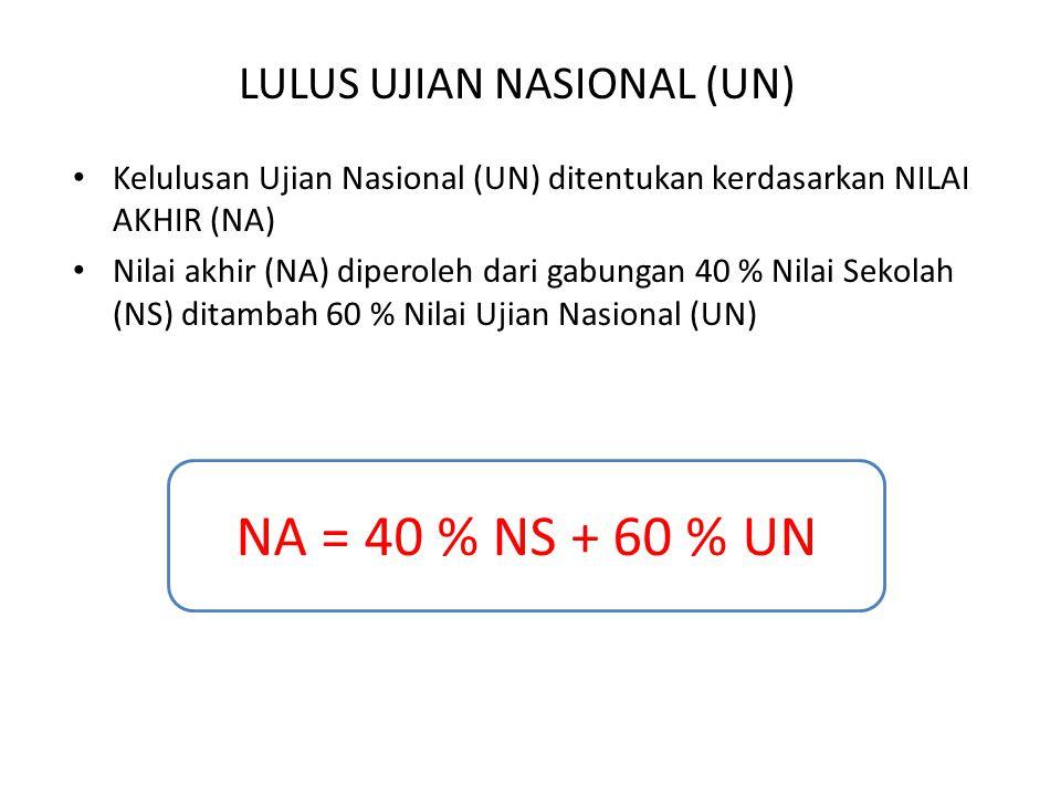 LULUS UJIAN NASIONAL (UN) Kelulusan Ujian Nasional (UN) ditentukan kerdasarkan NILAI AKHIR (NA) Nilai akhir (NA) diperoleh dari gabungan 40 % Nilai Se