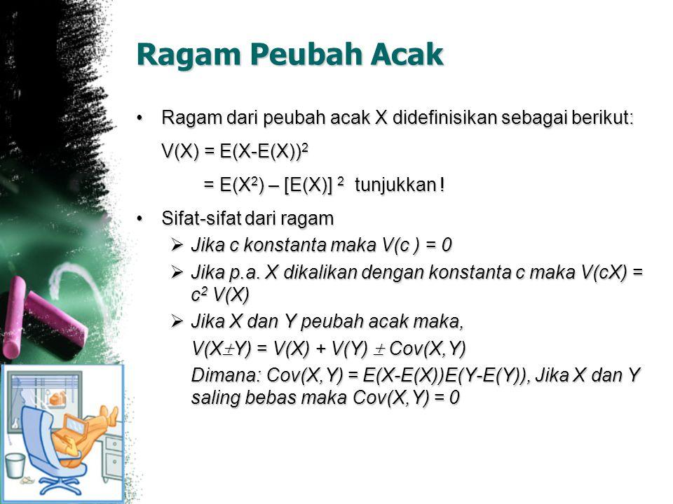 Ragam Peubah Acak Ragam dari peubah acak X didefinisikan sebagai berikut:Ragam dari peubah acak X didefinisikan sebagai berikut: V(X) = E(X-E(X)) 2 =