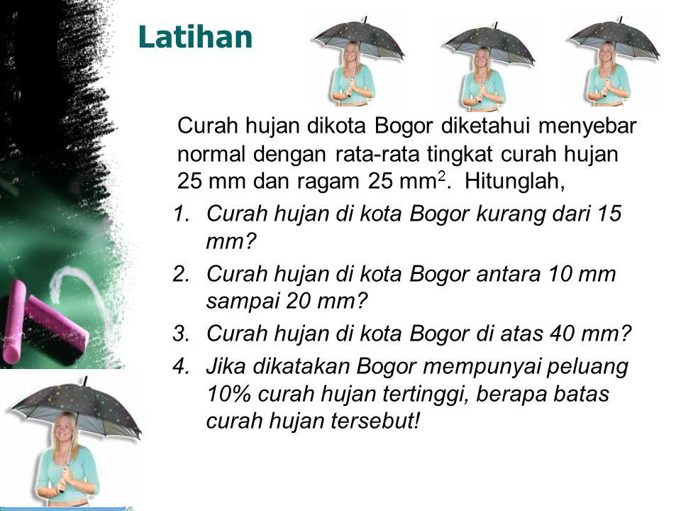 Latihan Curah hujan dikota Bogor diketahui menyebar normal dengan rata-rata tingkat curah hujan 25 mm dan ragam 25 mm 2. Hitunglah, 1.Curah hujan di k