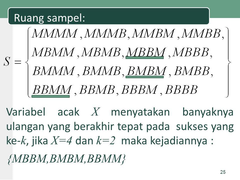 Ruang sampel: Variabel acak X menyatakan banyaknya ulangan yang berakhir tepat pada sukses yang ke- k, jika X=4 dan k=2 maka kejadiannya : {MBBM,BMBM,