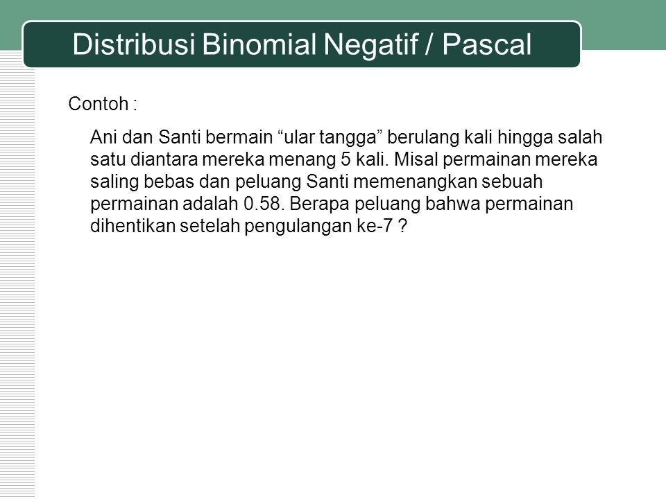 """Distribusi Binomial Negatif / Pascal Contoh : Ani dan Santi bermain """"ular tangga"""" berulang kali hingga salah satu diantara mereka menang 5 kali. Misal"""