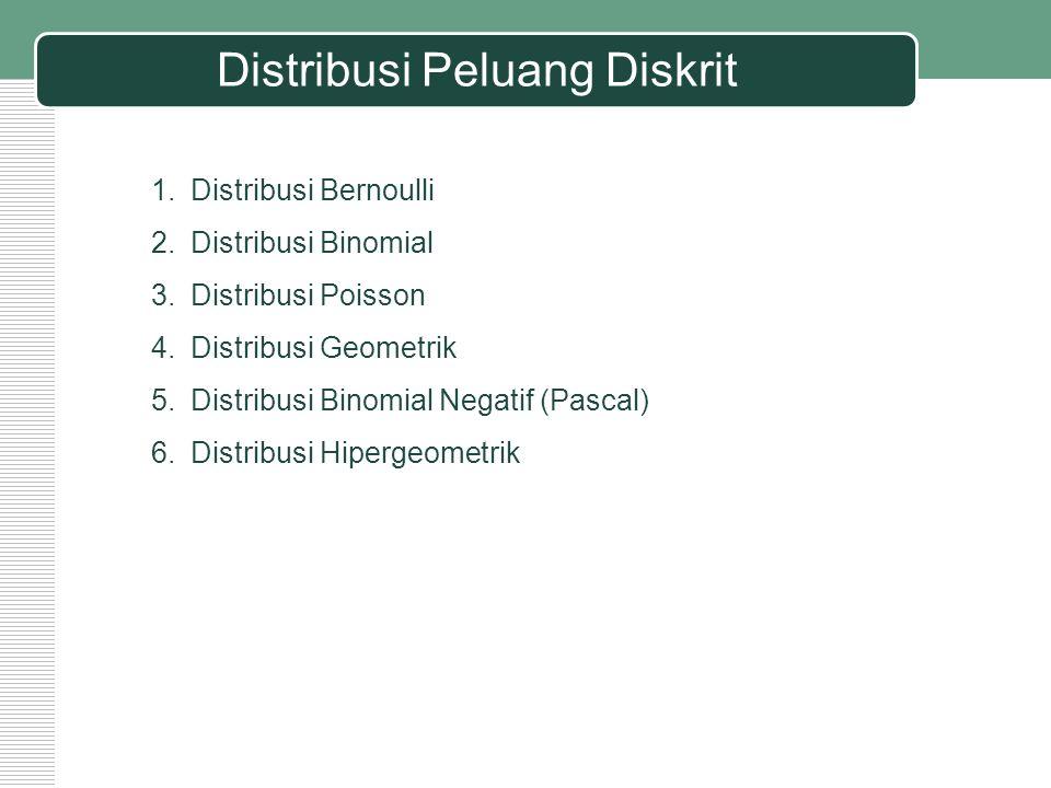 Distribusi Peluang Diskrit 1.Distribusi Bernoulli 2.Distribusi Binomial 3.Distribusi Poisson 4.Distribusi Geometrik 5.Distribusi Binomial Negatif (Pas