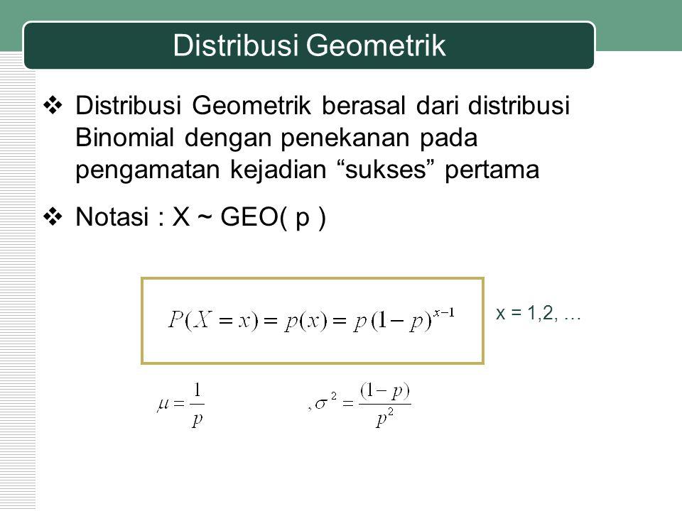 """Distribusi Geometrik  Distribusi Geometrik berasal dari distribusi Binomial dengan penekanan pada pengamatan kejadian """"sukses"""" pertama  Notasi : X ~"""