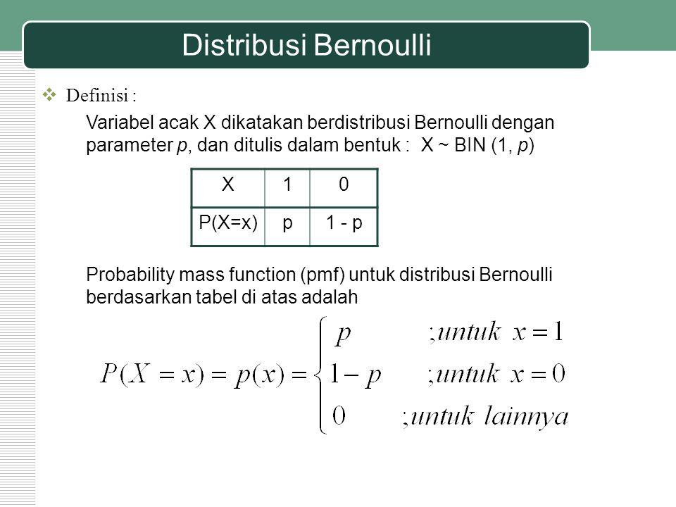 Distribusi Bernoulli  Karakteristik distribusi Bernoulli : Notasi : X ~ BIN (1, p) Rata-rata : µ = p Varians : σ 2 = p (1 – p)