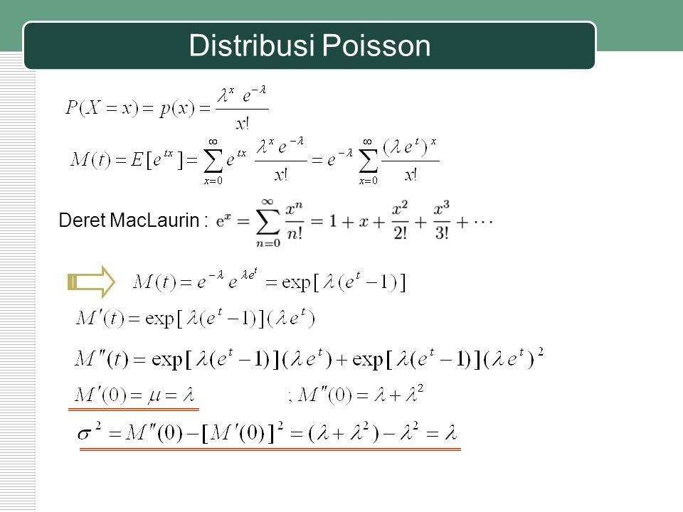 Distribusi Poisson Deret MacLaurin :