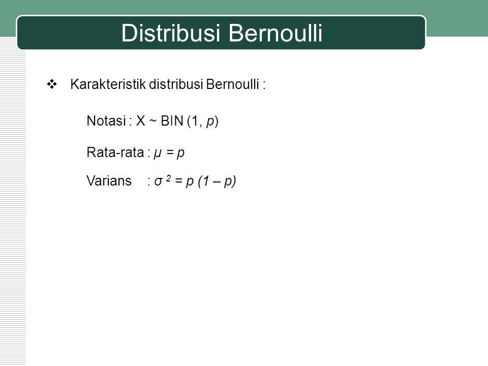 Distribusi Bernoulli Contoh : Sebuah dadu diundi.