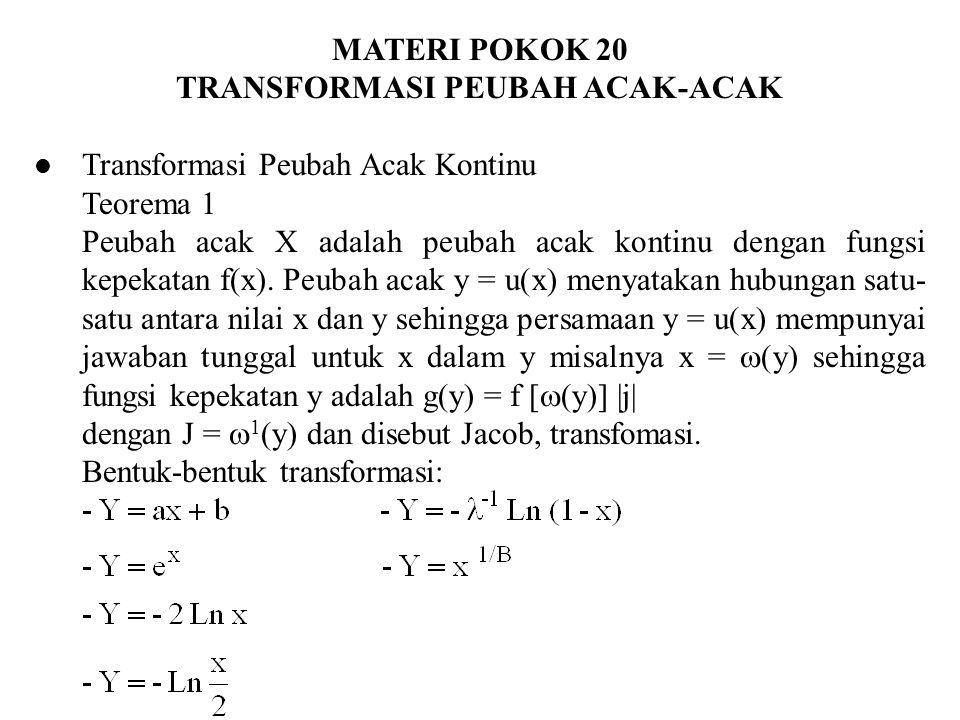 Transformasi Dengan Fungsi Sebaran Andaikan peubah acak X kontinu dengan fungsi kepekatan f(x) untuk C1 < x < C2 dengan transfora Y = u(X) dan inversnya X =  (y) maka fungsi kepekatan peubah acak Y adalah g(y) diperoleh dari G 1 (y) dimana