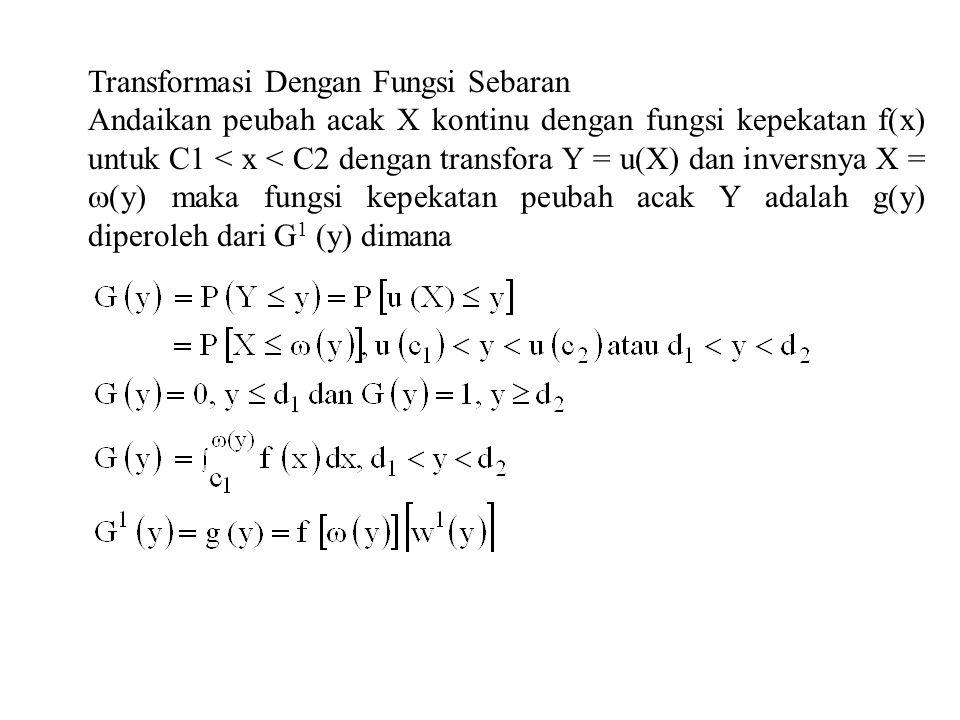 Contoh 1 Peubah acak X dengan fungsi kepekatan f(x) = 3(1 - x) 2, 0<x<1..