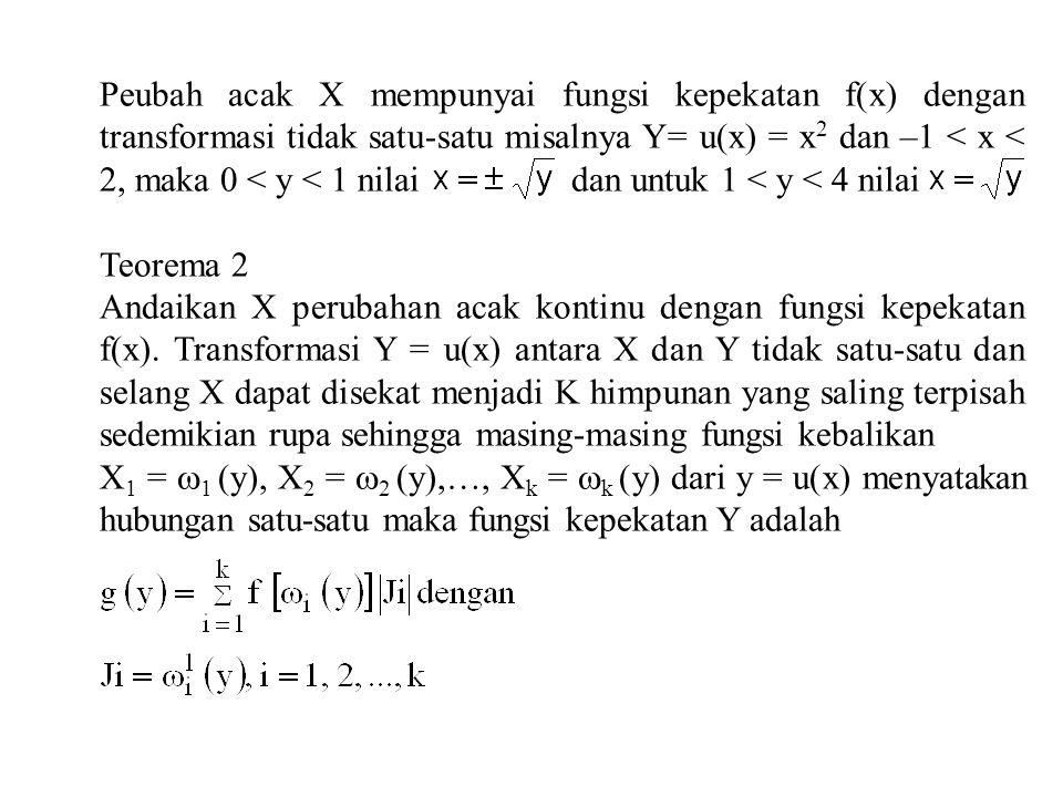 misalnya: f(x) ada pada selang –1 < x < 2 dan transformasi Y = u(X) = X 2. untuk 0 < y < 1