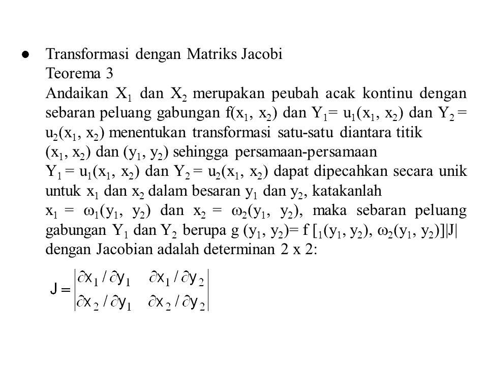 Adalah turunan parsial dari x 1 =  1 (y 1, y 2 ) terhadap y 1 Dengan y 1 konstan Adalah turunan parsial dari x 1 =  1 (y 1, y 2 ) terhadap y 2 Dengan y 1 konstan Adalah turunan parsial dari x 2 =  2 (y 1, y 2 ) terhadap y 1 Dengan y 2 konstan Adalah turunan parsial dari x 2 =  2 (y 1, y 2 ) terhadap y 2 dengan y 1 konstan
