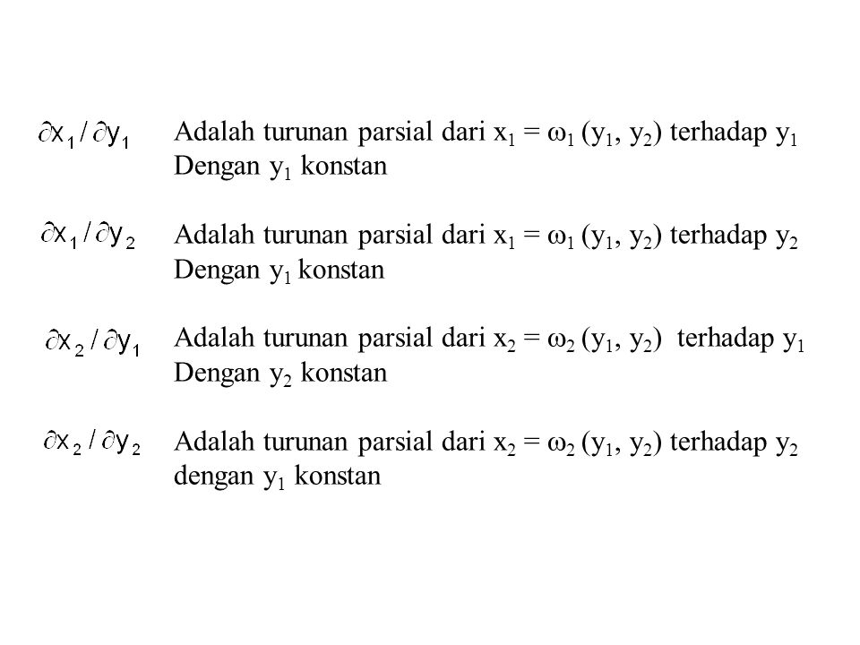 Contoh Himpunan A = {(x 1, x 2 ): 0 < x 1 < 1, 0 < x 2 < 1} Himpunan B = dalam bidang y 1 y 2 sebagai hasil pemetaan transformasi satu-satu Y 1 = u 1 (x 1, x 2 ) = x 1 + x 2 Y 2 = u 2 (x 1, x 2 ) = x 1 - x 2 maka