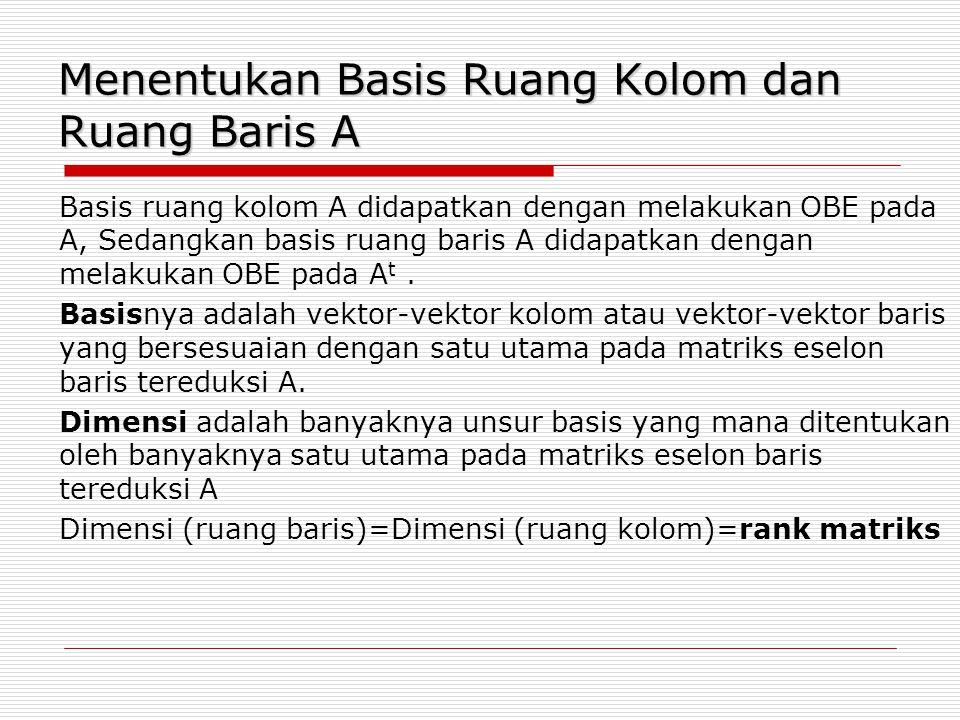 Menentukan Basis Ruang Kolom dan Ruang Baris A Basis ruang kolom A didapatkan dengan melakukan OBE pada A, Sedangkan basis ruang baris A didapatkan de