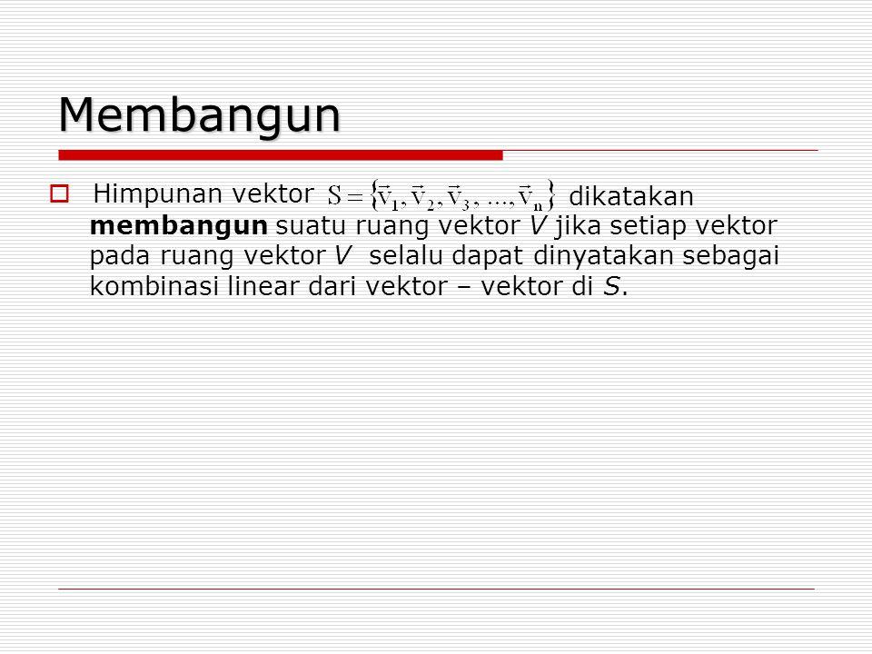 Membangun  Himpunan vektor dikatakan membangun suatu ruang vektor V jika setiap vektor pada ruang vektor V selalu dapat dinyatakan sebagai kombinasi