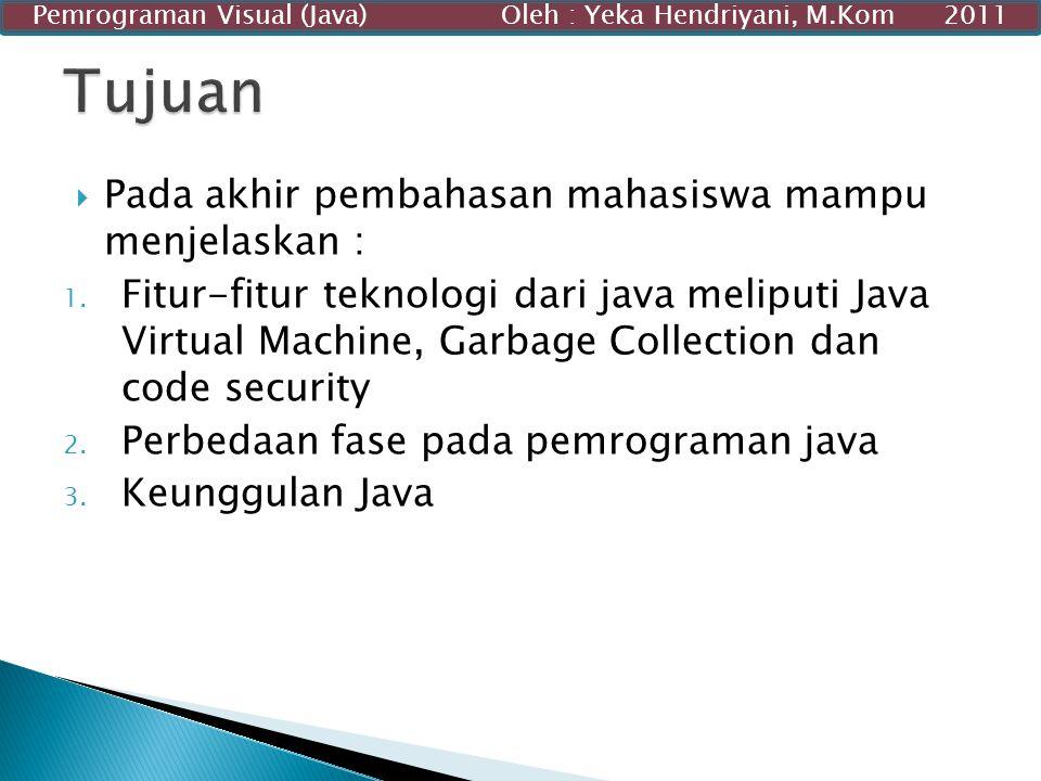  Pada akhir pembahasan mahasiswa mampu menjelaskan : 1. Fitur-fitur teknologi dari java meliputi Java Virtual Machine, Garbage Collection dan code se