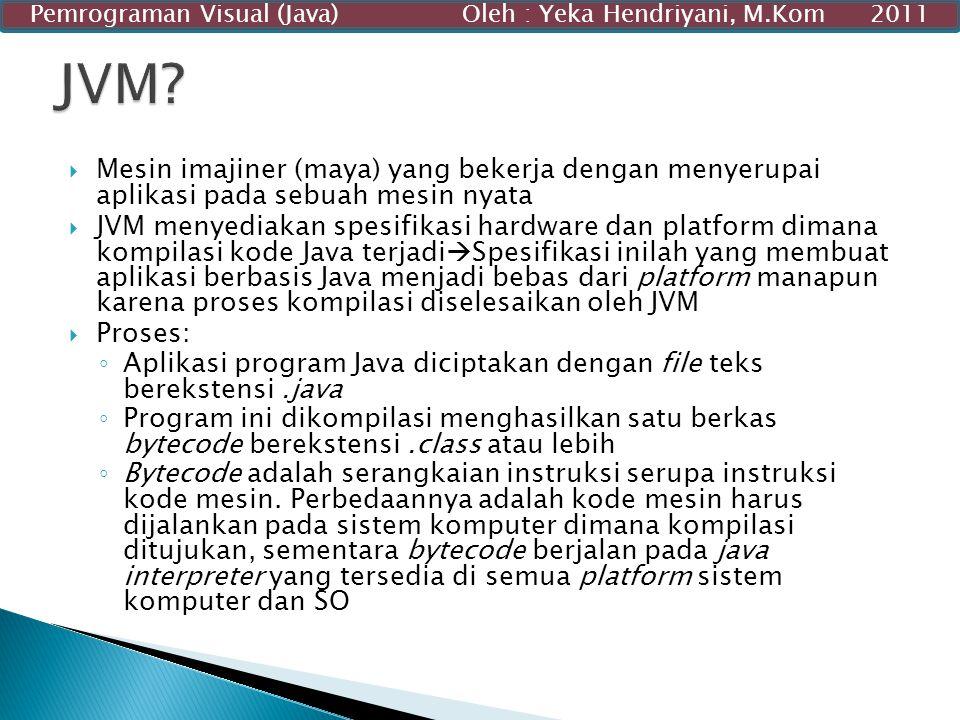  Mesin imajiner (maya) yang bekerja dengan menyerupai aplikasi pada sebuah mesin nyata  JVM menyediakan spesifikasi hardware dan platform dimana kom