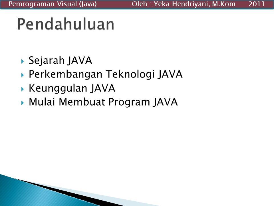  Sejarah JAVA  Perkembangan Teknologi JAVA  Keunggulan JAVA  Mulai Membuat Program JAVA Pemrograman Visual (Java) Oleh : Yeka Hendriyani, M.Kom 20